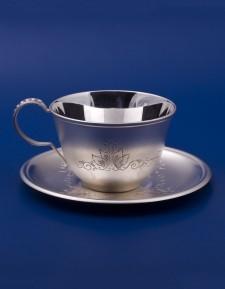 Серебряная чашка с блюдцем №15